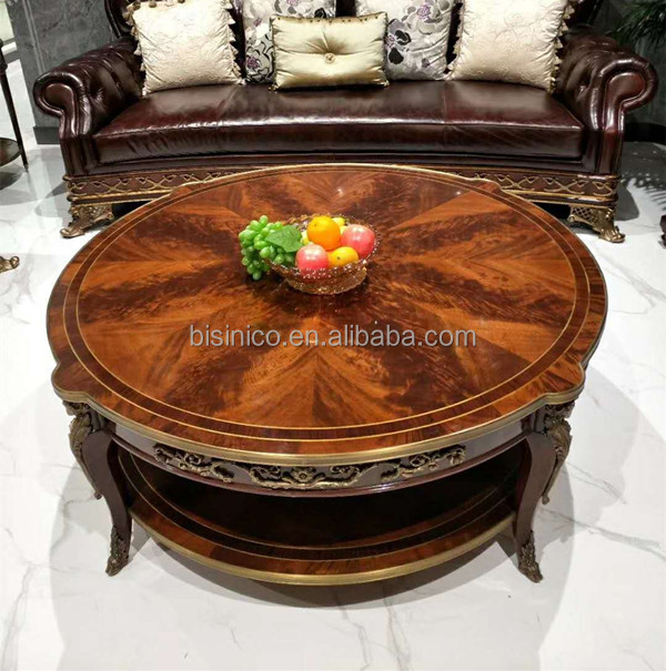 natural wood carved coffee table with brass pedestal castle living room furniture handmade marquetry round center table buy handmade solid wood