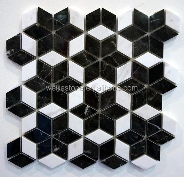 carrelage de sol en mosaique de marbre rhombus carrelage mural de salle de bains au design en forme d etoile de couleur noir et blanc buy carrelage