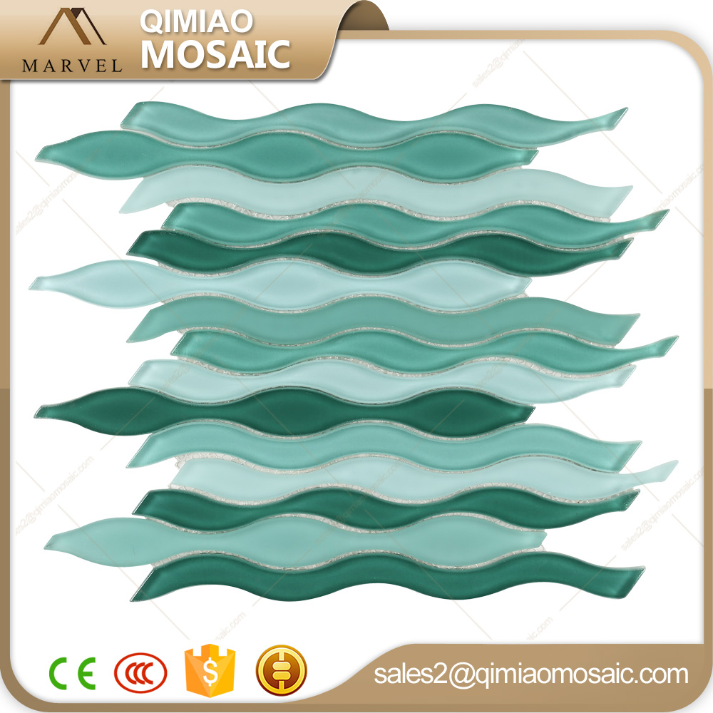 long strip art water jet green sea wave mosaic glass tile buy glass tile mosaic glass tile wavy glass tile product on alibaba com