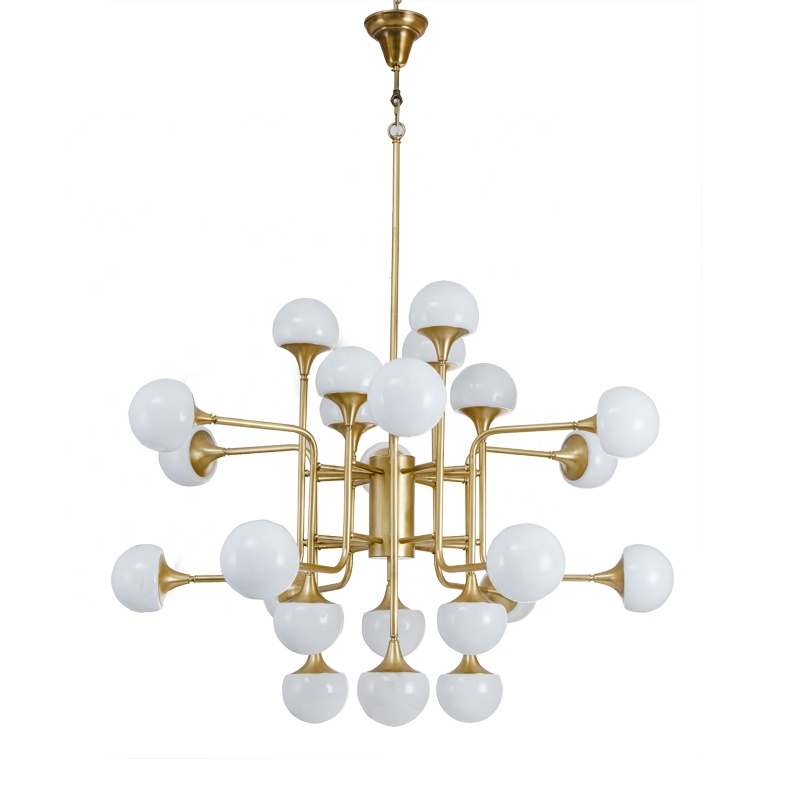 china manufacture abstract multi arm chandelier copper and 16 heads white frosted glass balls pendant lights modern hanging lamp buy modern hanging