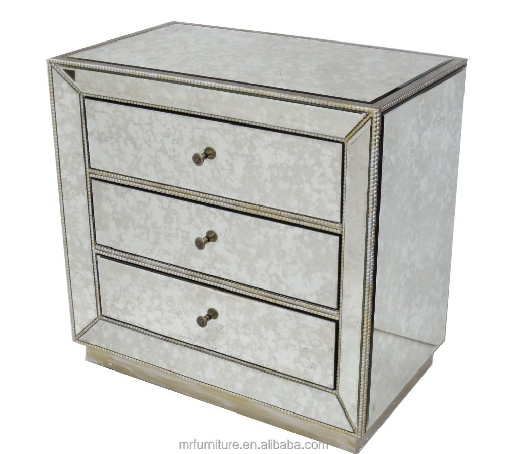 antique mirrored bed side table buy antique mirrored bed side table antique mirrored night stand antique mirrored chest with 3 drawer product on
