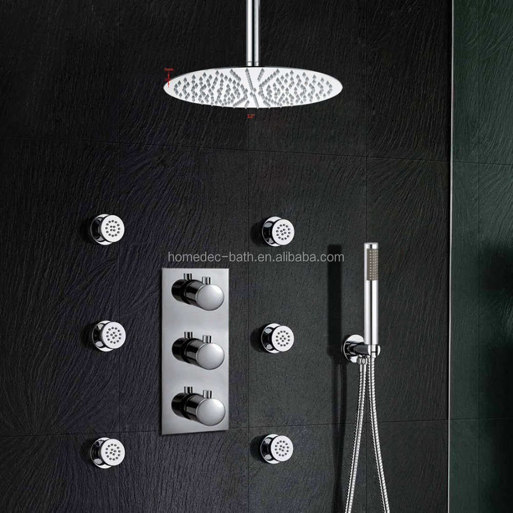 12 wall mounted thermostatic mixer valve rainfall shower faucet conceal install shower set with handheld shower buy 12 thermostatic