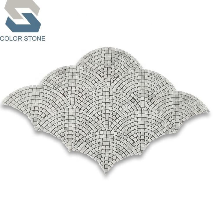 carrara white marble fish scale scallop fan patterns mini mosaic tile buy mosaic fish scale fish mosaic tile pattern fan marble mosaic tile product