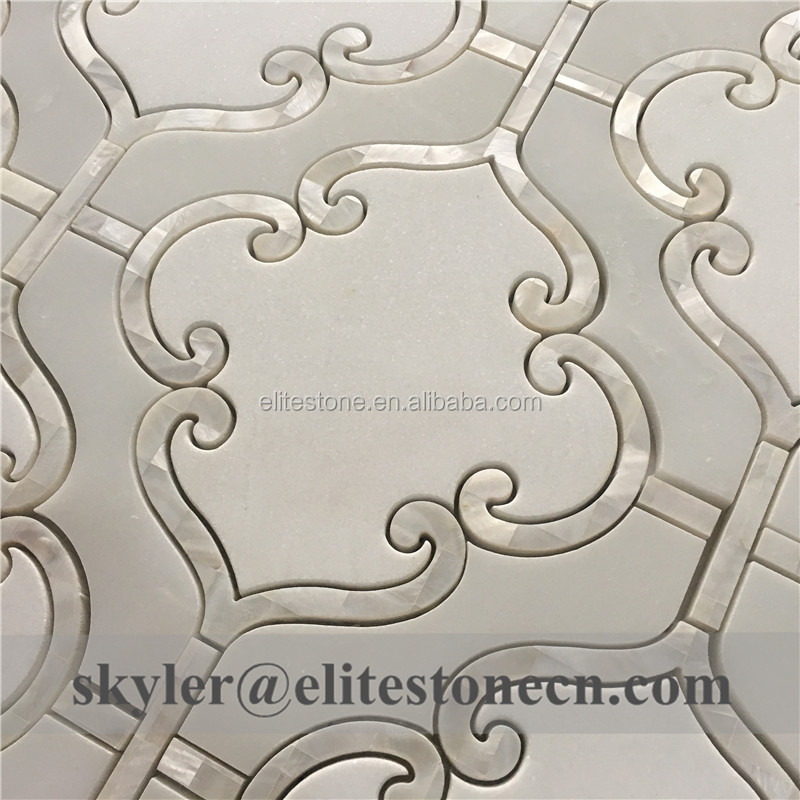 arabesque style white thaossos and onyx with shell marble mosaic tile buy arabesque mosaic tile shell marble mosaic tile white thaossos marble tile