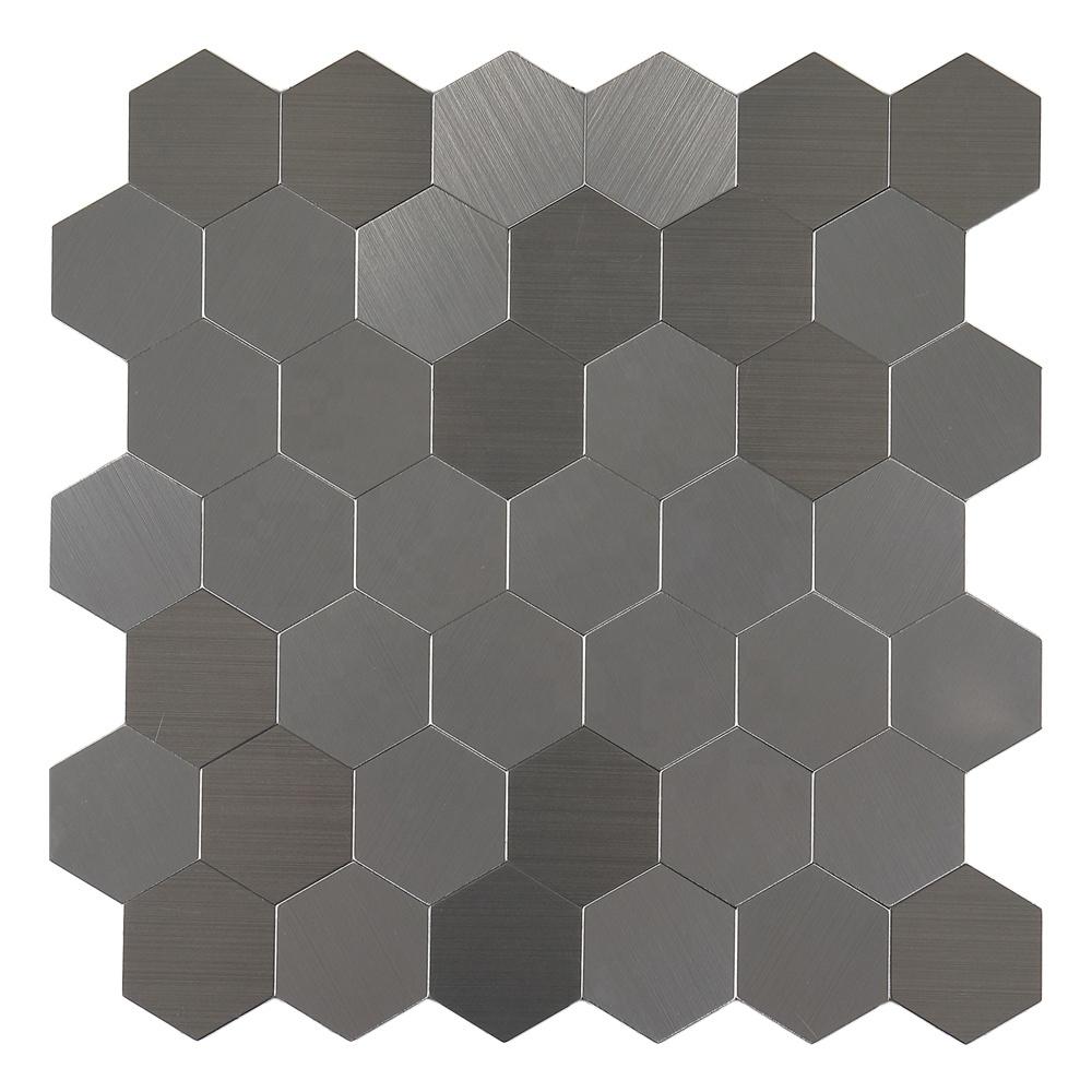 hexagon brushed metal peel stick aluminium mosaic for kitchen backsplash buy brushed metal aluminium mosaic hexagon aluminium mosaic peel