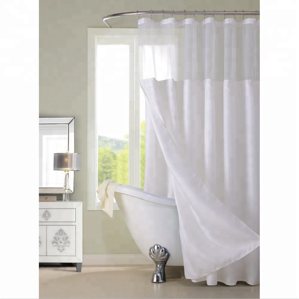 china suppliers luxury hotel hookless shower curtains snap on with grommets detachable liner in white gray fabric buy hookless shower curtains white