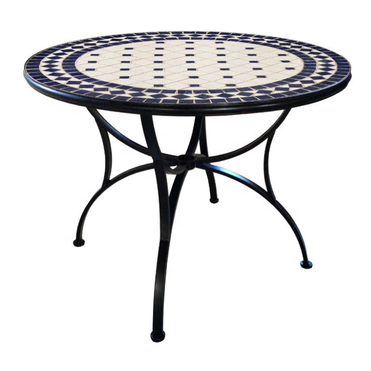 classical design medieval court style round table with creamic tile top mosaic outdoor patio furniture 3pc bistro set iron buy bistro set mosaic