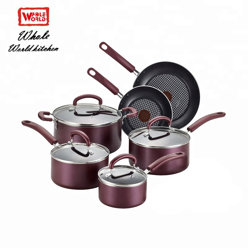 6pcs microwave non stick ceramic coating hard anodized aluminum cookware sets with glass lid buy cookware cookware sets purple ceramic cookware set product on alibaba com