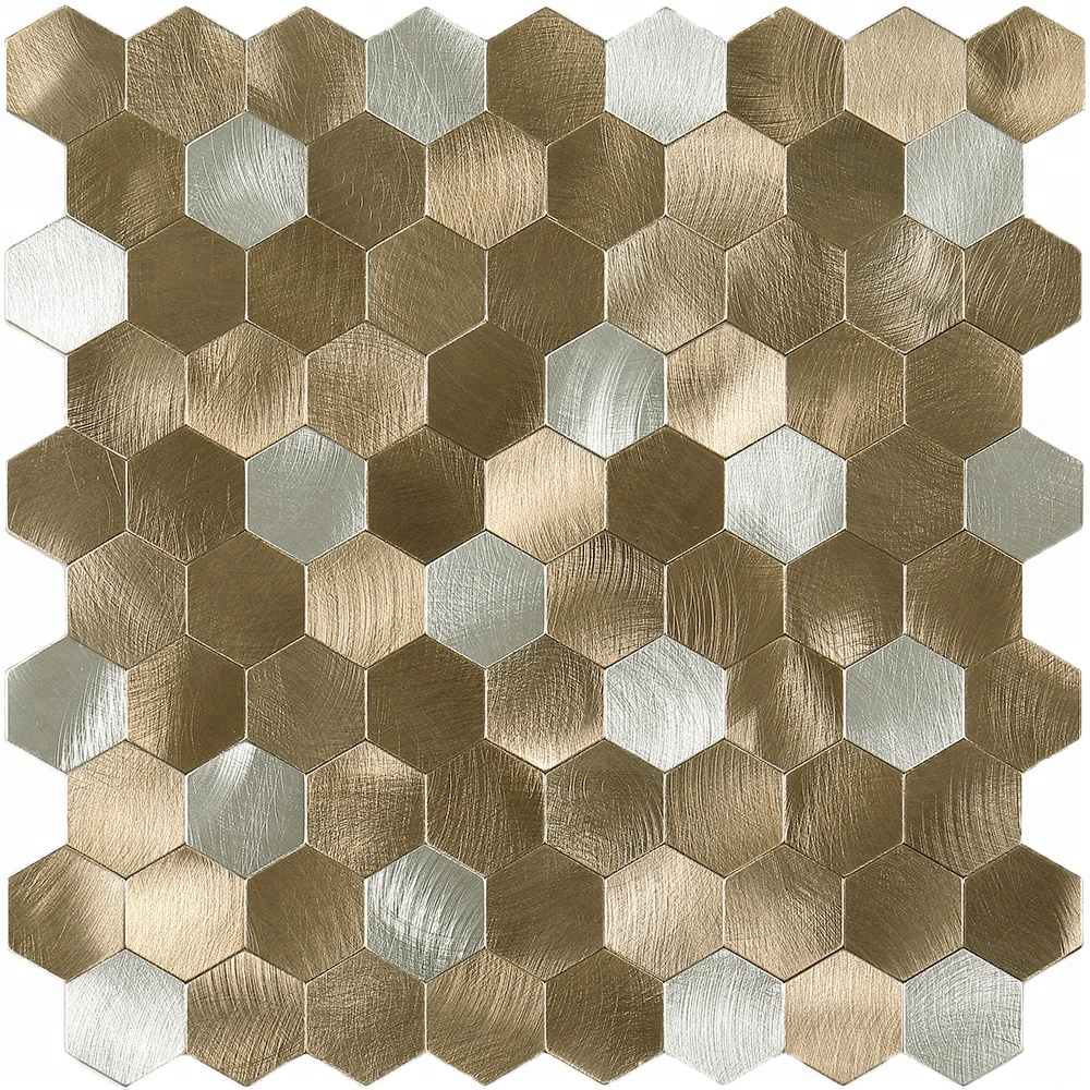 hexagon silver gold brushed peel and stick aluminum mosaic tile buy gold brushed aluminium mosaic tile peel and stick gold brushed aluminium mosaic