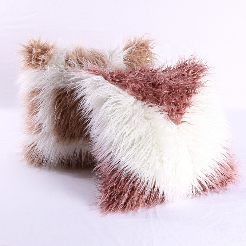 cheersee gradinent double color white brown cushions fluffy shaggy faux fur pillow covers for home decor buy faux fur pillow cover shaggy pillow