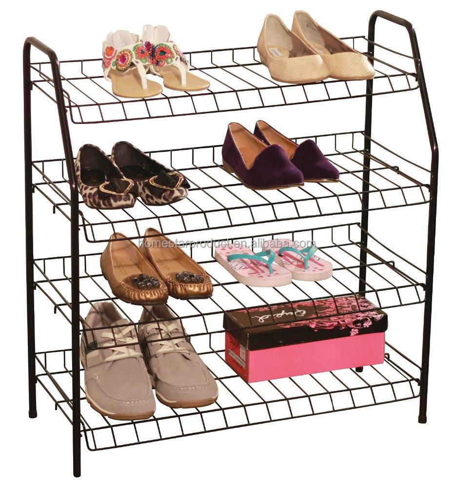stackable shoe racks 4 shelf stacked metal wire shoe rack shelf shoe rack organizer stand for 30 pair shoes simple design buy metal shoe rack