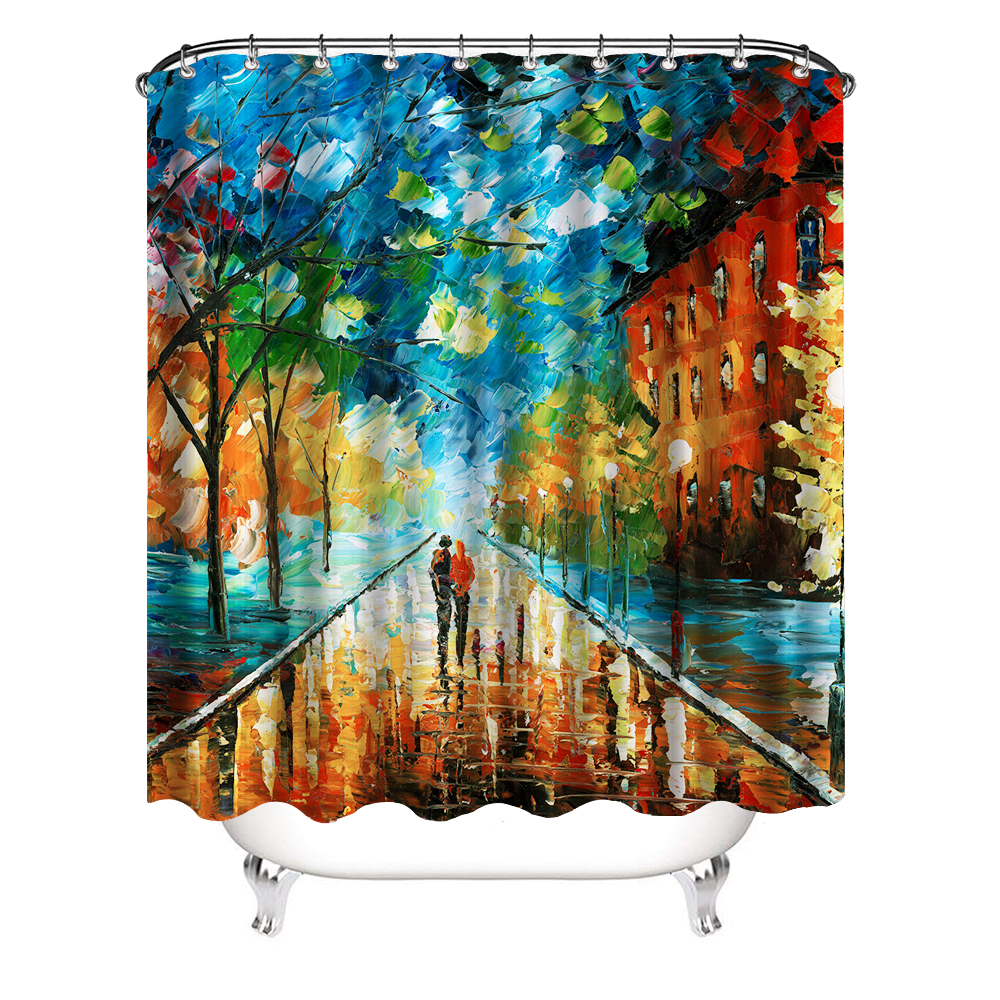 lovers love faith theme oil painting romantic shower curtain fall forest park cute couple polyester fabric waterproof bathroom buy couple painting