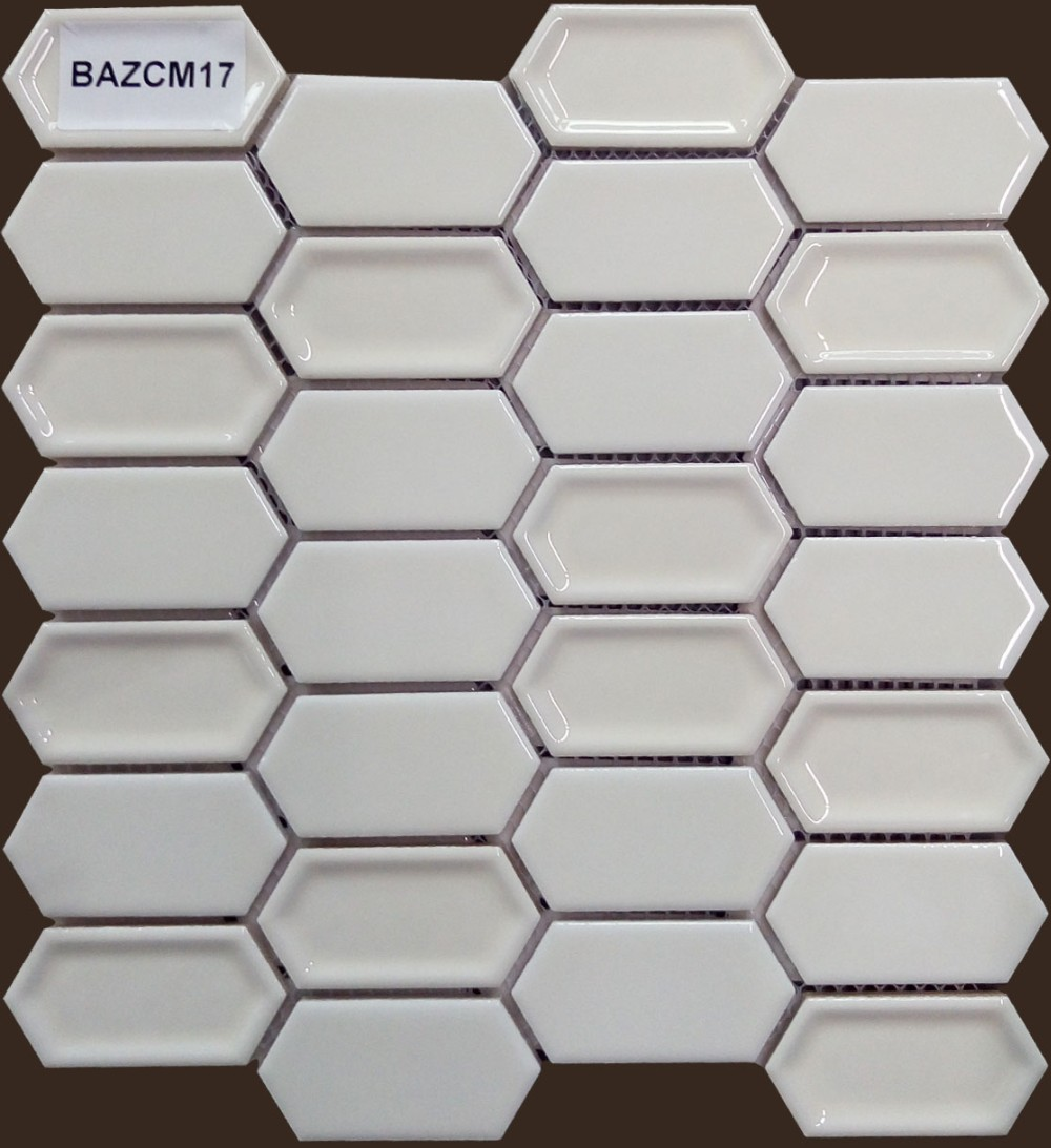 bazara elongated hexagon white ceramic mosaic tile for hotel bathroom buy ceramic mosaic tile hexagon shape mosaic mosaic bathroom wall tiles