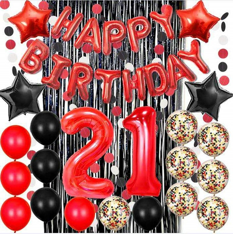 21st birthday decorations red happy birthday banne black foil fringe curtain party supplies buy foil balloons party supplies birthday party
