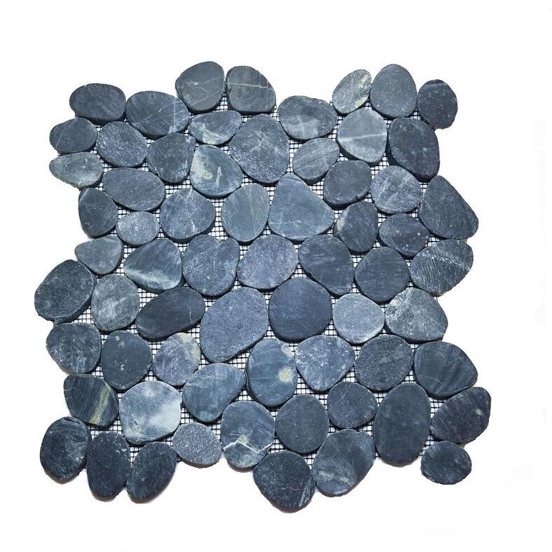 blue polished pebble tile on mesh cobble stone buy pebble tile high quality cobble stone polished pebble product on alibaba com