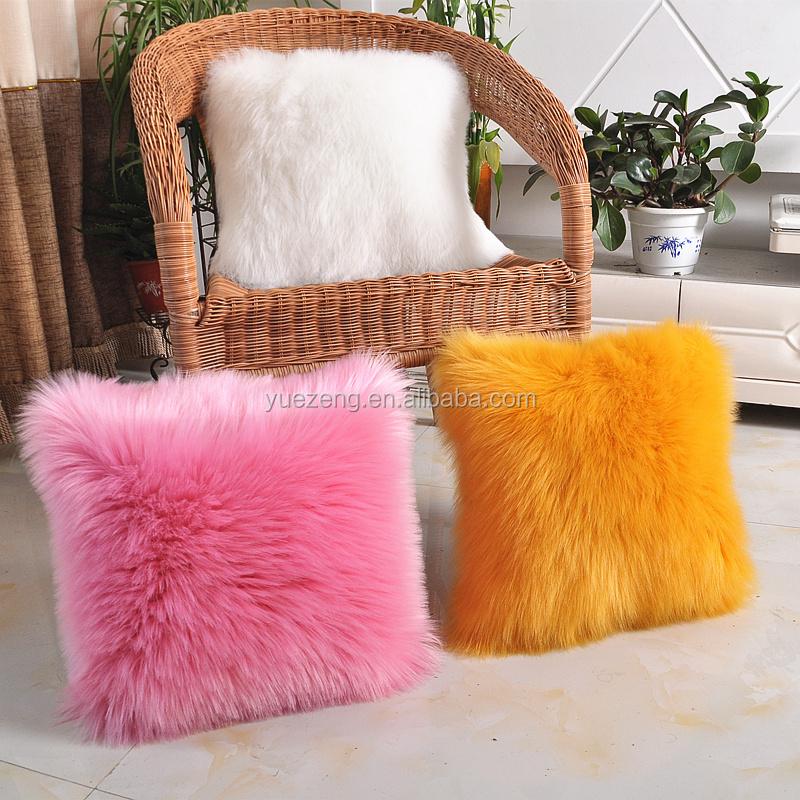 soft plush faux fur two colors throw pillow cover cushion case buy throw pillow cover fur cushion case plush fake fur cushion product on alibaba com