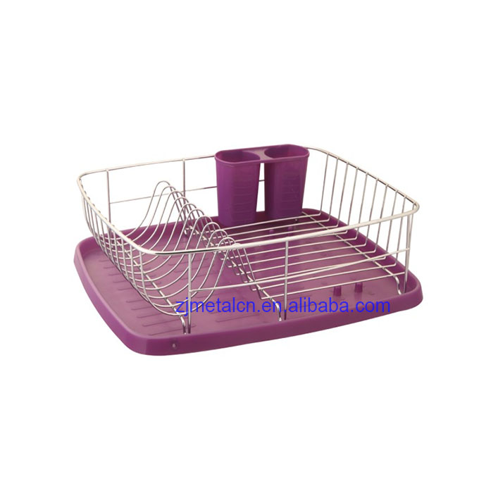 wholesale metal purple large sink dish drying rack with cutlery holder for kitchen cabinet buy large sink dish rack for kitchen cabinet metal dish