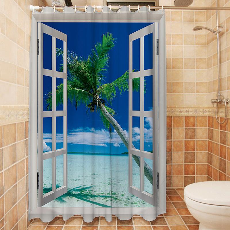 yutong ocean shower curtain decor tropical palm trees on an island beach through white wooden windows bathroom shower curtain buy shower