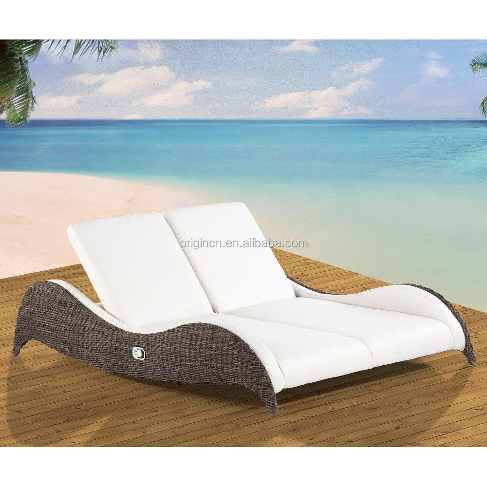 cozy modern design outdoor rattan chaise lounge furniture double sunbeds for beach view sunbeds for beach oem origin product details from jinhua