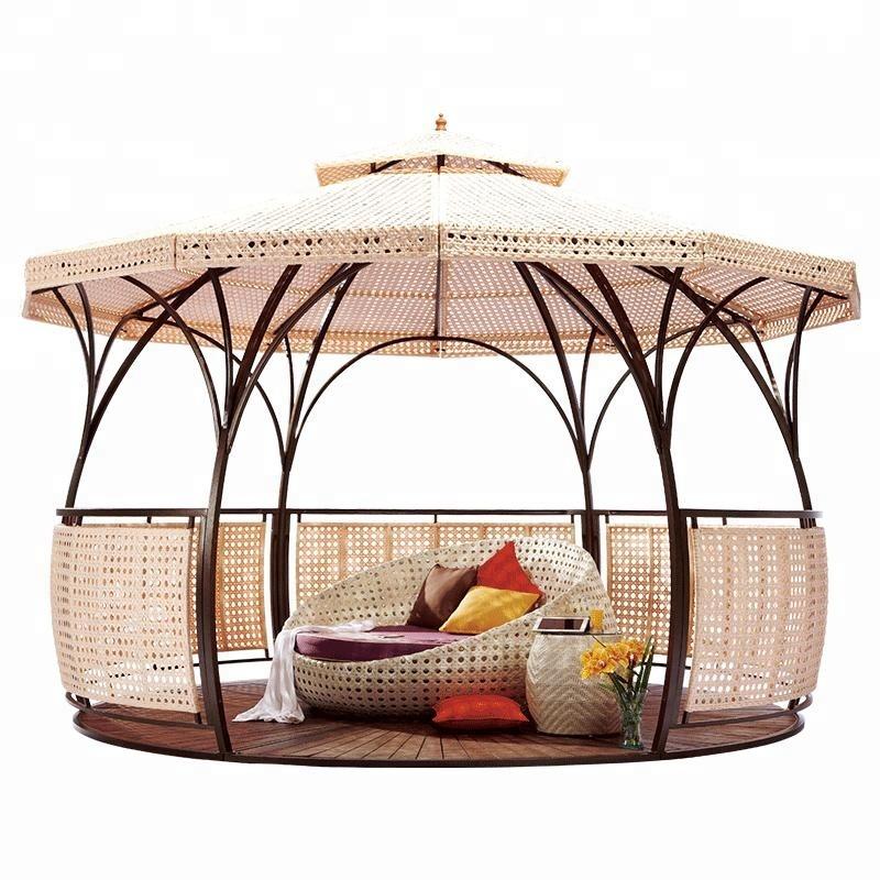 outdoor luxury waterproof double roof dome design round garden gazebo with wpc floor buy iron patio gazebo for sale large outdoor gazebo wicker