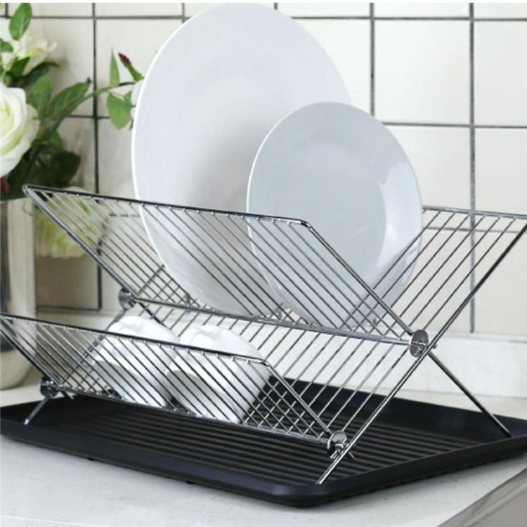 x shape 2 tier foldable kitchen chrome metal draining dish drying rack buy dish drying rack folding dish drainer 2 tier dish rack product on