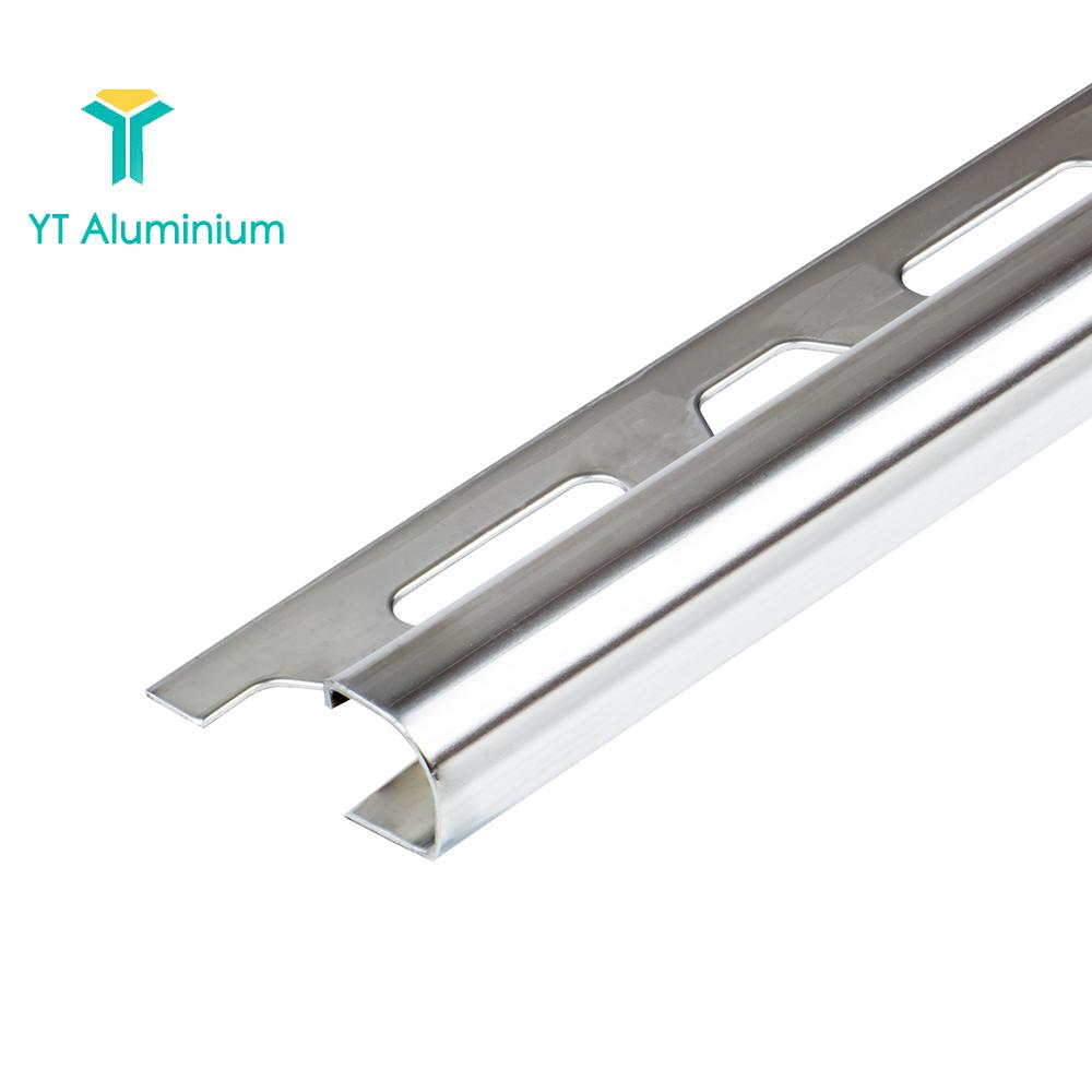 8 10 12mm bright silver round edge aluminum tile edging trim ceramic tile trim profile view aluminum tile edge protection trim yutian product