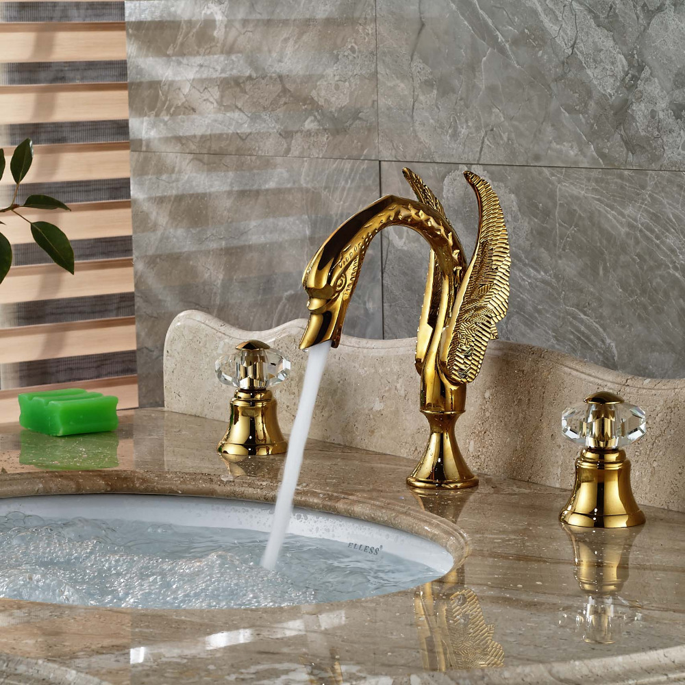 wholesale and retail luxury golden swan basin faucet crystal handles deck mounted widespread vanity sink mixer tap tub faucet buy faucet tap luxury
