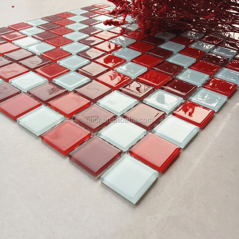 20x20 30x30 4mm crystal glass mosaic tiles white mixed red mixed burgundy red beautiful bathroom decorative glass mosaics buy 4mm thickness 20x20