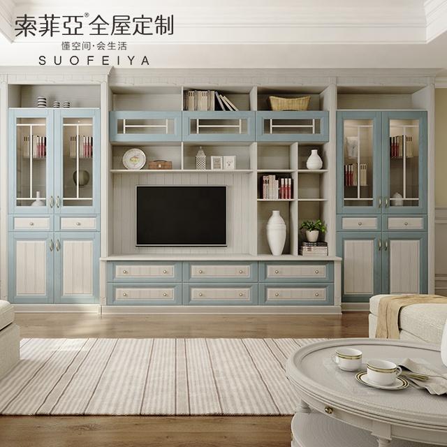 suofeiya meuble tv de style mediterraneen ensemble de meubles de salon en mdf buy salon vitrine design bois armoires de salon meuble tv en bois