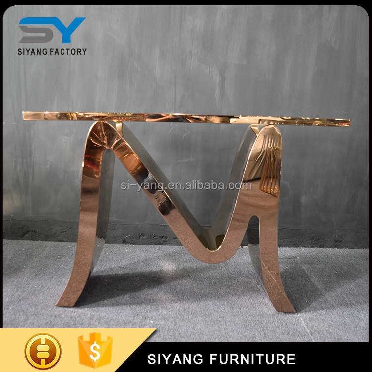 2017 new design rose gold glass sofa table wrought iron console table with glass table top hardware xg007 buy wrought iron console table design