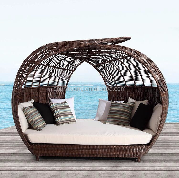 outdoor wicker rattan beach day bed with canopy double view beach day bed oem product details from foshan shunhuang furniture co ltd on
