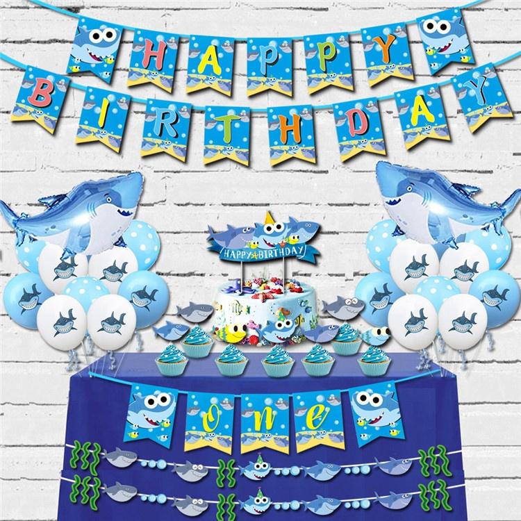 Hot New Shark Theme Baby Birthday Party Decoration Kits Happy Birthday Banner Cake Topper Buy Baby Birthday Party Decorations Happy Birthday Banner Shark Theme Party Decorations Product On Alibaba Com