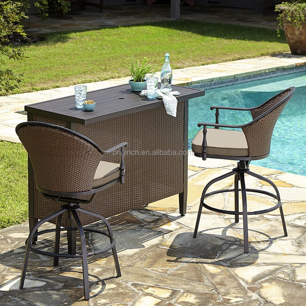 swimming pool outdoor furniture with rattan swivel chair and umbrella hole table bar sets view rattan swivel chair oem origin product details from