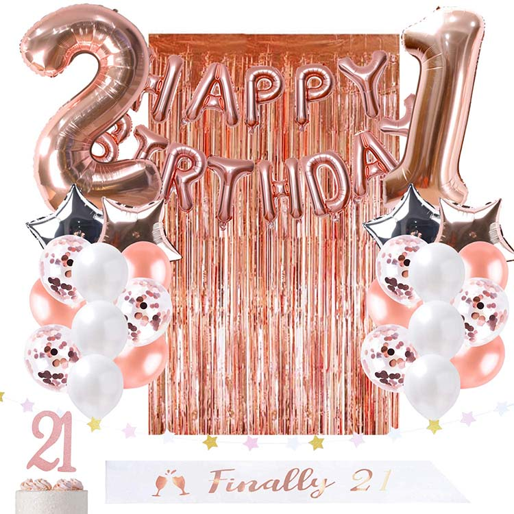 21st Birthday Decorations Rose Gold Party Supplies For Her Finally Legal 21 Sash Foil Happy Birthday Balloon Curtain Backdrop Buy 21st Birthday Decorations Rose Gold Party Supplies Finally Legal 21 Sash Product On