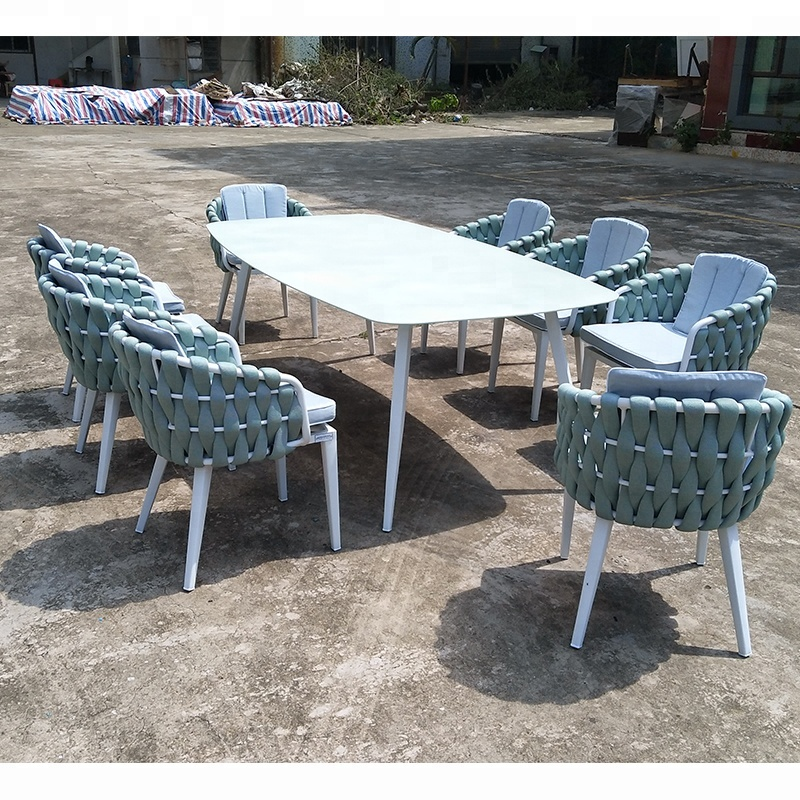 high quality outdoor furniture marble top aluminium frame rope woven dining table and chairs set buy marble dining table set woven rope