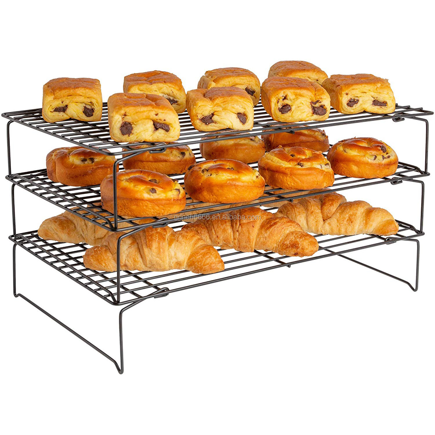 2021 3 tier cooling rack non stick oven safe wire cookie cooling rack stackable wire trays with collapsible legs for cakes buy 3 tier cooling