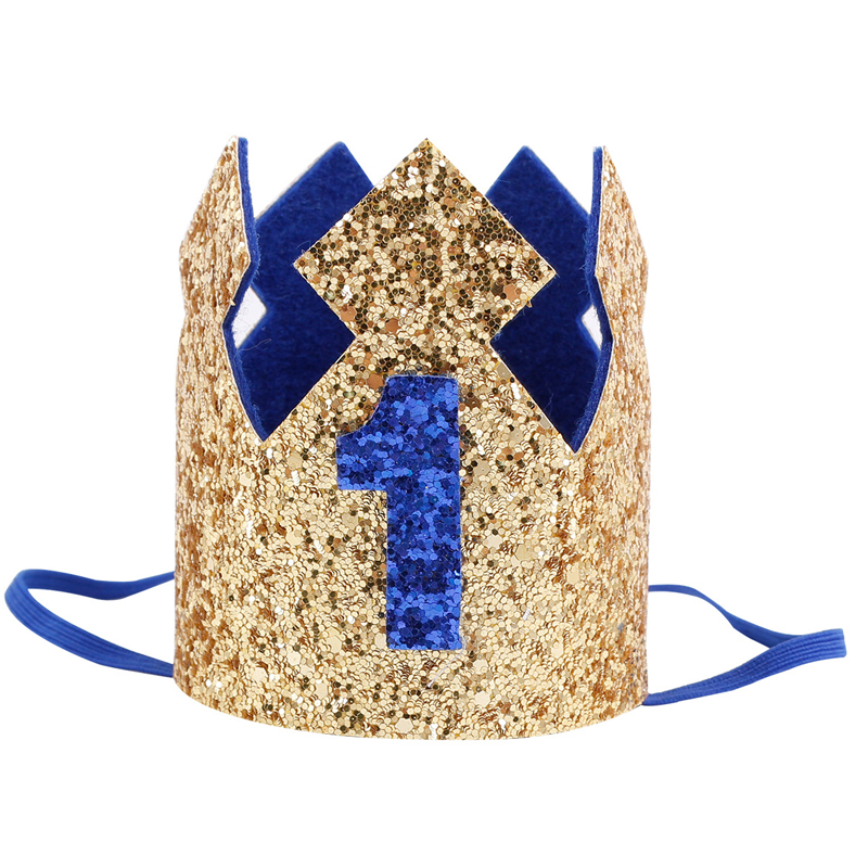 Blue Glitter Baby Birthday Crown Boy Girl 1st Birthday Party Crown Hat Headband Decoration Buy Boy Blue Silver First Birthday Hat Girl Gold Pink Priness Crown Number 1st 2 3 Year