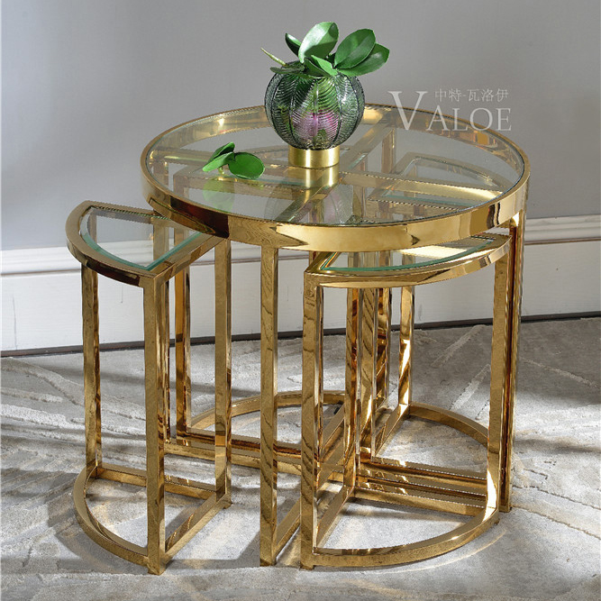 unique tea desk gold finish base round coffee end tables multifunctional stainless steel and glass flat center modern table buy modern table coffee end tables center table product on alibaba com