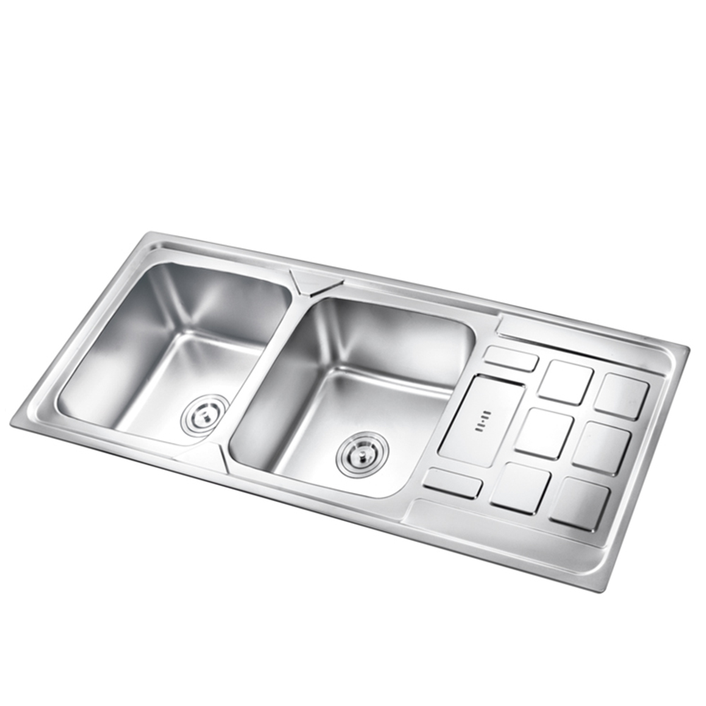 k esr12050k double bowl stainless steel sink with drainboard 1200mm kitchen sink buy double bowl stainless steel sink with drainboard 1200mm