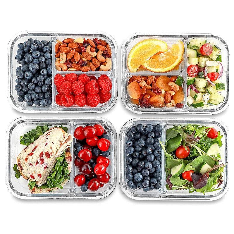citylife wholesale kitchen portable microwave lunch square glass food meal prep storage containers reusable with lids buy food prep containers high borosilicate glass meal prep containers 3 compartment food container hot sales microwave
