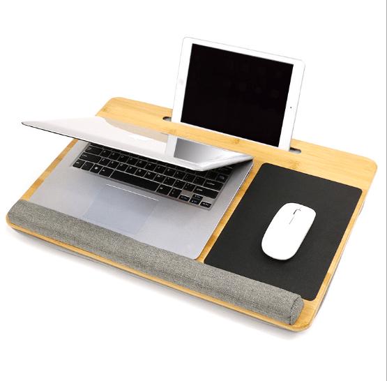 lap laptop desk portable lap desk with pillow cushion fits up to 15 6 inch laptop with anti slip strip storage function buy portable lap