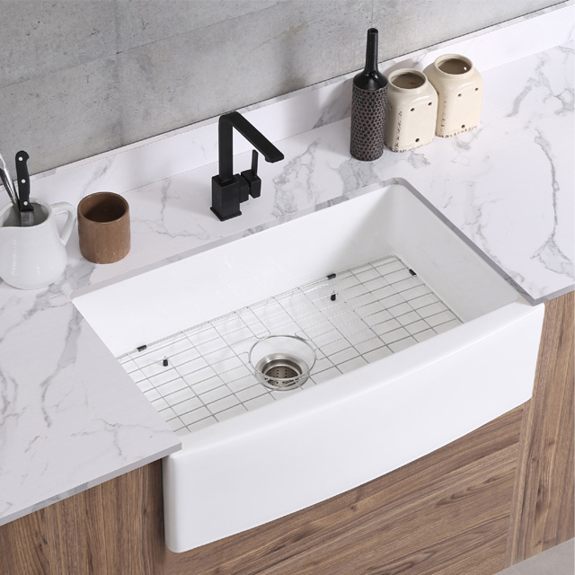 white color single bowl curved apron front installation type kitchen farmhouse sink p3021 buy fireclay or porcelain farm kitchen sink farmer