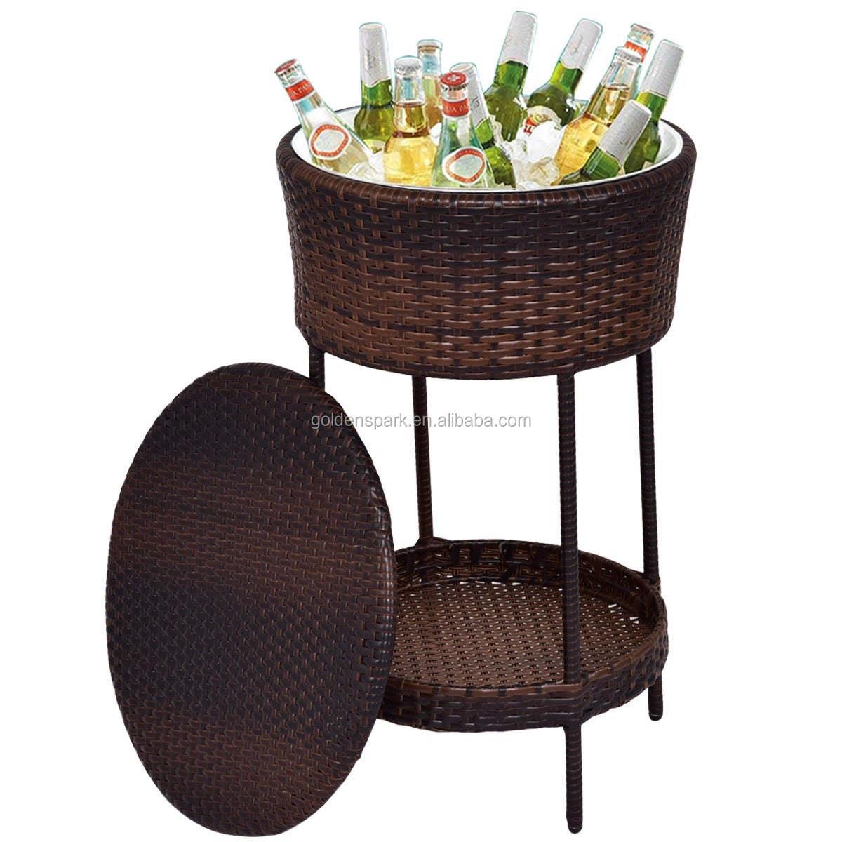 patio cooler ice bucket brown outdoor wicker storage poolside beverage cart deck buy ice bucket outdoor wicker table cool ice bar table product on