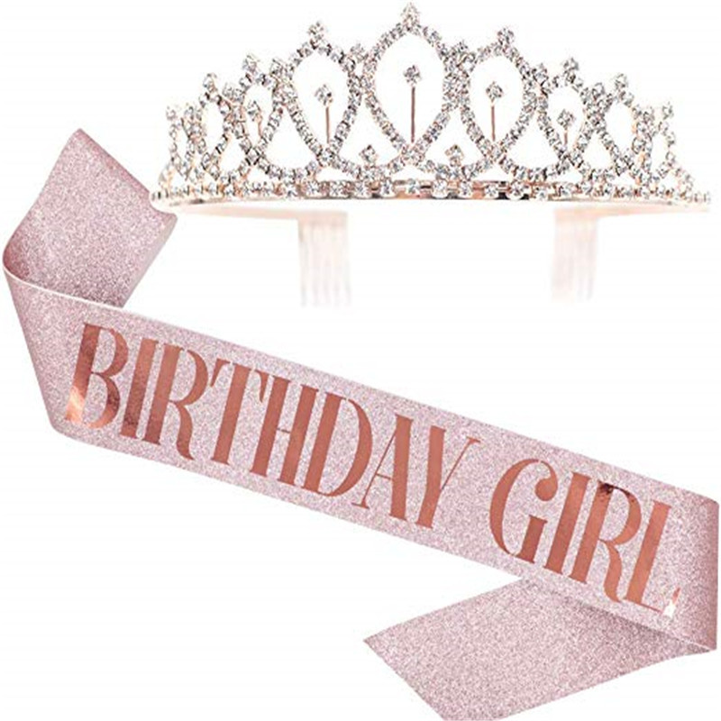 Rtssy 305 Birthday Party Decoration 18 21 30rose Gold Satin Sash Crystal Crown Tiara Happy Birthday Anniversary Party Supplies Buy Birthday Party Decoration Party Supplies Product On Alibaba Com