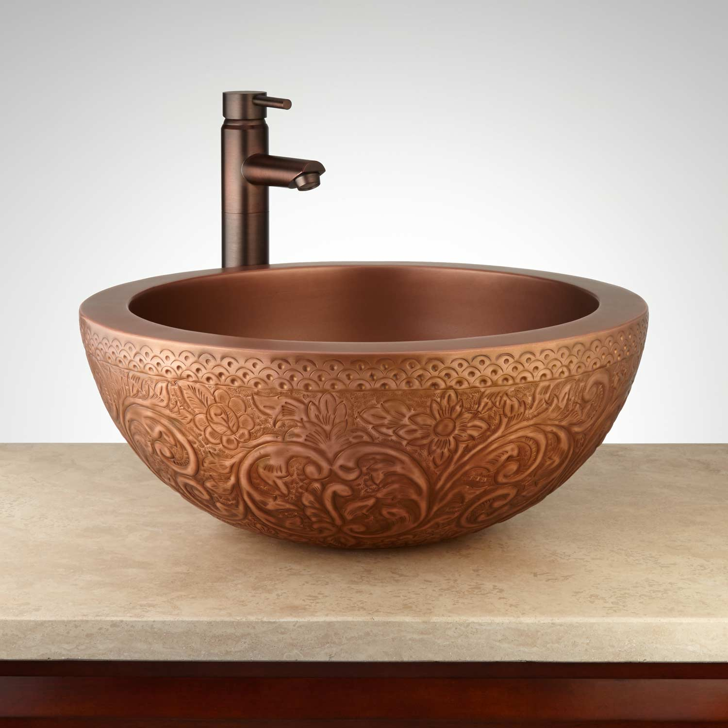 handmade embossed round antique copper wash basin for bathroom manufacturer in india buy handmade embossed round antique copper wash basin for