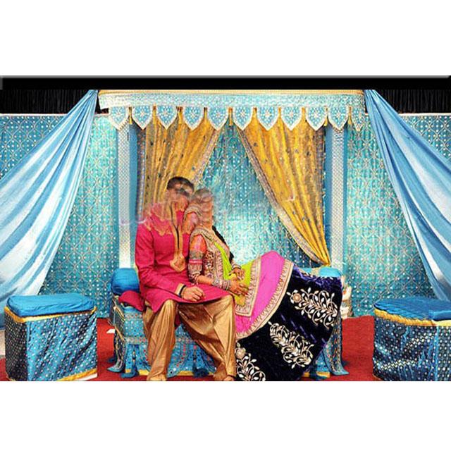 rideaux d arriere plan brodes en velours bleu royal de scene de mehndi pour mariage couronne indienne decoration de fond nouvelle collection buy