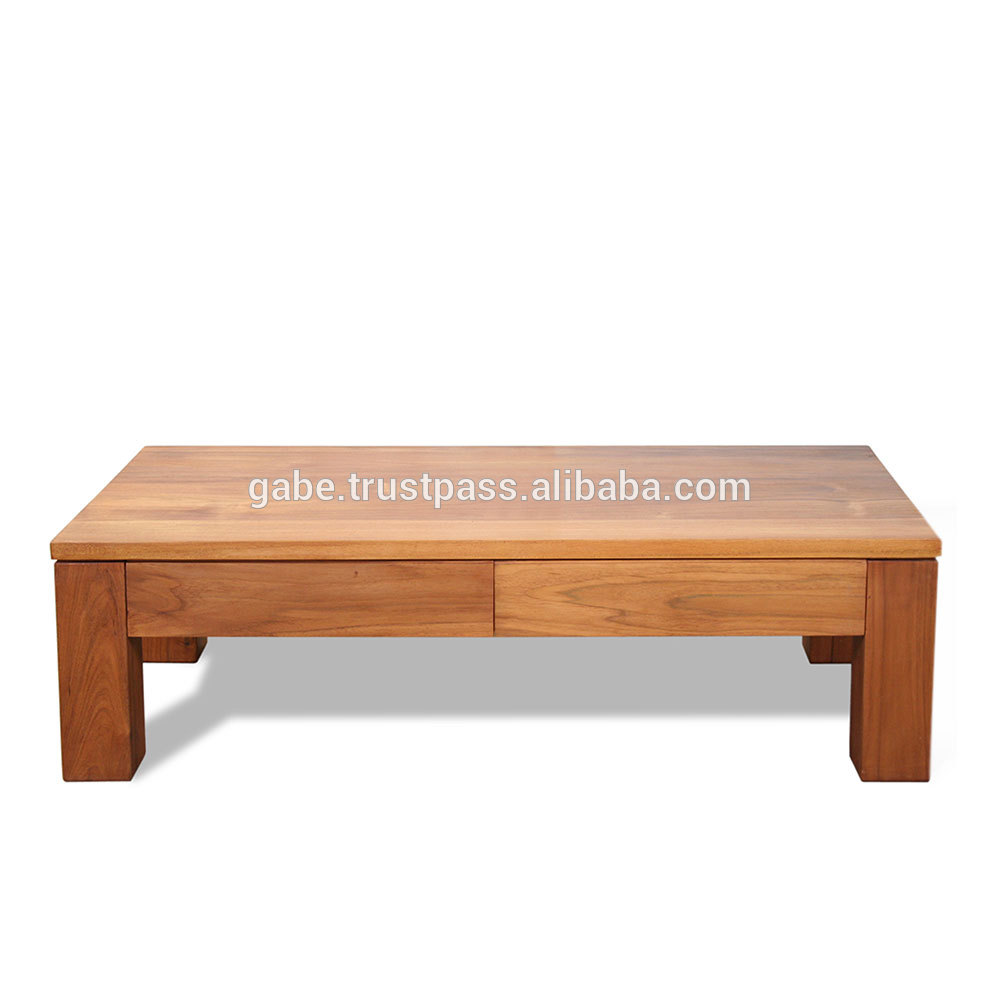 zen coffee table minimalist style with 2 drawers front side solid wood teak natural color buy coffee table minimalist coffe table wooden coffee