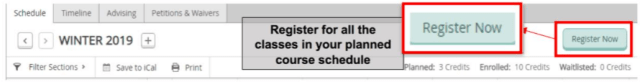 Register now button, where you can register for all the classes in your planned course schedule