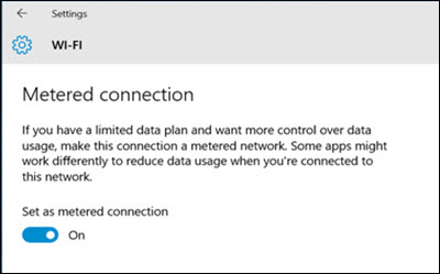 Windows metered connection