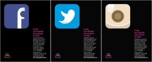 The three posters are slightly different in their design approach. The Facebook and Twitter icons creatively warp the logos to form shapes with the negative space while the less successful Instagram icon design illustrates a breast and adds a random shape of a hand.